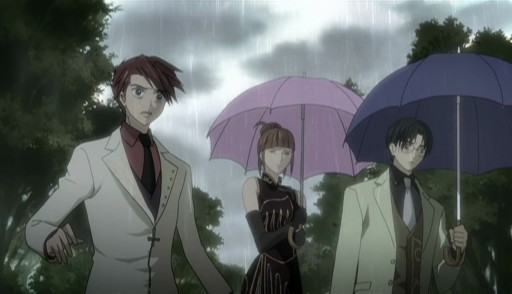 Battler, Eva, and George under a state of shock