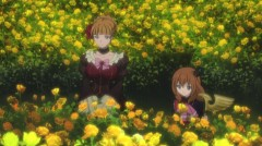 Beatrice and Maria among golden flowers